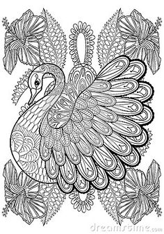 Hand Drawing Artistic Swan In Flowers For Adult Coloring Pages  - Download From Over 40 Million High Quality Stock Photos, Images, Vectors. Sign up for FREE today. Image: 65683496