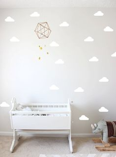 Cloud Nine Baby Nursery Decor Cloud Pattern Individual Removable - Nursery wall decals clouds