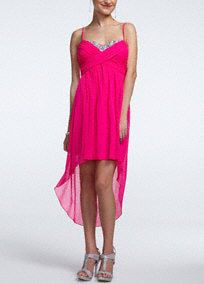 Spaghetti Strap High-Low Dress with Jeweled Neck