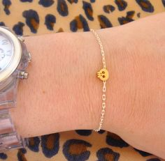 Tiny Skull Bracelet - Matt 14k Gold Plated Skull Charm on Gold & White Delicate Chain with Mint Faceted Bead READY TO SHIP