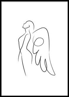 Line Art Angel Poster Cool Art Drawings, Pencil Art Drawings, Art Drawings Sketches, Easy Drawings, Line Drawing Art, Abstract Face Art, Abstract Lines, Abstract Art Tattoo, Minimalist Drawing