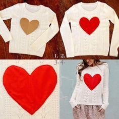 Refashion An Old Sweater Ideas - DIY Fashion soooooo cute on like a thrift shop sweater with felt Old Sweater, Heart Sweater, Sweaters, Heart Shirt, Grey Sweater, Diy Fashion Projects, Fashion Ideas, Fashion Diva Design, Diy Vetement