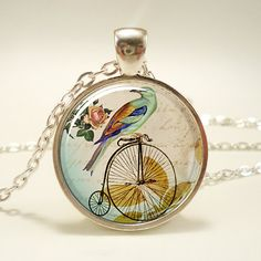 Penny Farthing Bicycle Necklace With Bird Hipster by rainnua, $14.45
