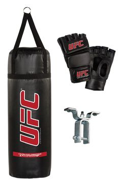 UFC 70 LB. 3 PIECE BAG COMBO  70 lb. Vinyl Heavy Bag with Straps perfect for punching and kicking to improving strength, speed and agility. Made in the USA