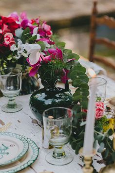 centerpiece with flowing eucalyptus - photo by Pedro Bellido http://ruffledblog.com/andalusian-garden-wedding-editorial #centerpieces #weddingideas