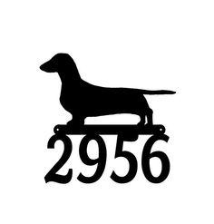 Dachshund Dog Metal Address Numbers Metal by MegaMetalDesigns