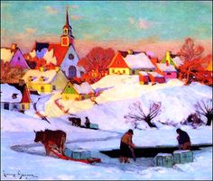 """Clarence Gagnon, """"The Ice Harvest,"""" oil on canvas. Such gorgeous, mellow light. Canadian Painters, Canadian Artists, Winter Painting, Winter Art, Winter Illustration, Illustration Art, Landscape Art, Landscape Paintings, Clarence Gagnon"""