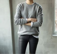 leather pants and grey cashmere sweater