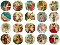 Printed Vintage Victorian Santa Christmas Circles Collage Sheet x medium weight cardstock For Decoupage, Altered Art, Scrapbooking etc. Ready to u Victorian Christmas Ornaments, Vintage Christmas Images, Vintage Ornaments, Vintage Santas, Vintage Crafts, Xmas Ornaments, Santa Christmas, Christmas Quotes, Christmas Decorations