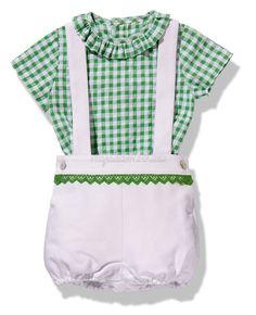 Conjunto de niño en piqué y vichy verde