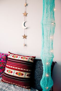 I LOVE this Lady Scorpio room decor & turquoise lights☽ ✩ Save 25% off all orders with code PINTERESTXO at checkout | Bohemian Bedroom + Home Decor |  Mandala Tapestries, Pillows & Gold Moon Star Wall Hanging Decor + Twilights by Lady Scorpio | Shop Now LadyScorpio101.com | @LadyScorpio101 | Photography by Luna Blue @Luna8lue