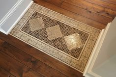 Tile Rug Inlay Design, Pictures, Remodel, Decor and Ideas Foyer Flooring, Kitchen Flooring, Flooring Ideas, Tile Entryway, Entry Rug, Kitchen Rug, Laminate Flooring, Kitchen Stuff, Floor Design