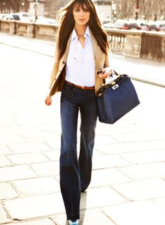 wide leg denim jeans & camel blazer