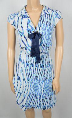 LEIFSDOTTIR Anthropologie Dress 6 S 100% Silk Multi Tone Blue Rope Design