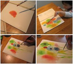 2nd: watercolor (tutorial) - wet into wet [get them to let the paint run!], organic shapes--turn into flowers