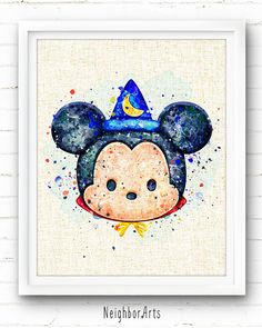 Everywhere - Disney - Sorcerer Mickey Mouse - Watercolor Art Print Poster - Wall…