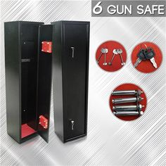 $209.95,Save $40.00 - Black /    Red - 6 Gun Safe Firearm Rifle Storage Lockbox Steel Cabinet at CrazySales.com.au - If you need to keep your guns safe and locked up, then check out this 6 Gun Safe Firearm Rifle Storage Lockbox Steel Cabinet!