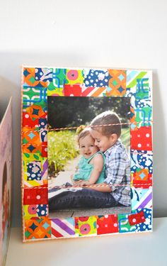 This decoupage, DIY photo display is the perfect way to playfully and colorfully display a favorite photo. Make for yourself or as a gift!