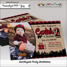 Lumberjack Birthday Party Photo Printable Invitation