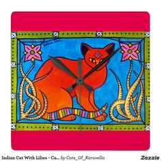 Home decor for Kids Room. Cat wall clock Indian Cat With Lilies colorful Cat Art Dora Hathazi Mendes for kids, cat, flower, gold, cats, colorful, bright, for girls room, art for children, pets,pet, feline, blue, green, red, pink, frame, floral, ornamental, organic, homedecor, animals, mystic, art nouveau, india, indian, lilies, lily, bindi, spiritual, whimsical, feline, beauty, enhancement, demon, evil, luck, gorgeous, cat art, red cat, birthday present, ginger, #dorahathazi