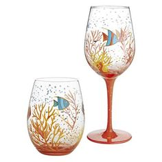 Fish & Coral Reef Painted Stemware