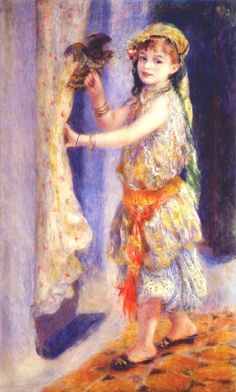 Mille Fleury in Algerian Costume aka Girl with a Falcon, Pierre Auguste Renoir
