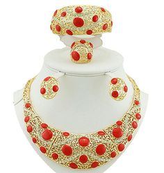 gold fashion jewelry sets african wedding jewelry sets  big jewelry set women necklace