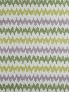 Robert Allen Botanical Color fabric, Turbo Charge, is a zigzag of ikat bands that creates the perfect scale for coordinating. Offered in colors Calypso Blue, Spring Grass and Sunray.