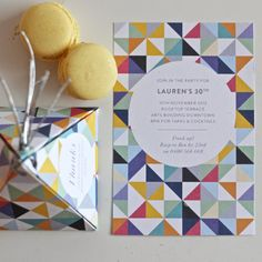 Bright Geometric Invitation & Favour box printable | by Polkadot Prints