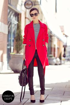 El of Classy and Fabulous in our BB Dakota by Jack Hans Coral Red Trench Coat