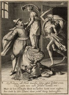 "Willem van Swanenburgh, Dutch, 1581/2-1616 Death with an arrow about to strike the man down, plate four from Allegory of the Misuse of Worldly Property, after Maarten van Heemskerck, 1609 Engraving 8 1/2"" x 6 1/4"" Dr. and Mrs. E. William Ewers Gift for Fine Arts Fund and Vanderbilt Art Association Acquisitiion Fund Purchase 1996.204d"