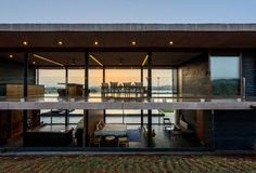 Unexpectedly Playful and Open Modern Home: Panorama House by Ajay Sonar, IndiaLocated Nashik, Maharashtra, India, the Panorama house was designed by Ajay Sonar. The Panorama house is set on the backwaters of the Gangapur Dam i. Concrete Architecture, Residential Architecture, Modern Architecture, Le Corbusier, Beautiful Villas, Beautiful Homes, Contemporary Interior Design, Story House, Cool House Designs