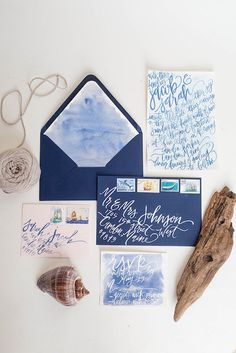 Deep blue watercolor wedding stationery with calligraphy from Etsy.com #nauticaltheme #watercolor #calligraphy