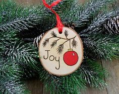Wood Burned Birch Slice Ornament Hand Burned Painted - Joy / Red Christmas Tree Ball