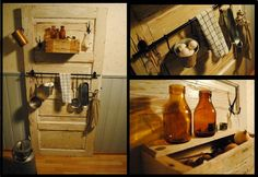 Old door and wooden box mixed with Ikea hangers turned into kitchen shelf. In my kitchen. :) From innolla.hosuen blog