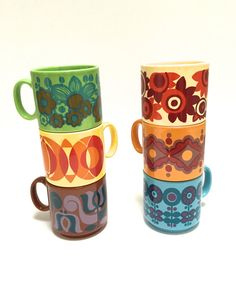 ON HOLD Bright Retro Royal Alma Mugs Staffordshire mugs set
