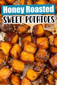 Easy Honey Roasted Sweet Potatoes - The Cheerful Cook Healthy Vegetable Recipes, Sweet Potato Recipes Healthy, Roasted Potato Recipes, Healthy Potatoes, Honey Recipes, Fall Recipes, Healthy Summer Recipes, Healthy Dessert Recipes, Dip Recipes