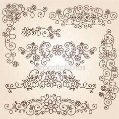 Downloaden - Henna paisley wijnstokken en bloemen mehndi tattoo doodles abstract floral vector illustratie ontwerpelementen — Stockillustratie #13916373