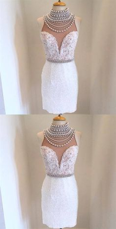 High Neck Sleeveless Lace Short Homecoming Dresses With Beaded Prom Dresses Two Piece, Prom Dresses 2018, Prom Dresses For Sale, Backless Prom Dresses, Beautiful Prom Dresses, Prom Dresses Online, Girls Dresses, Inexpensive Homecoming Dresses, Affordable Bridesmaid Dresses