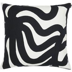 "Crate & Barrel Marimekko Joonas 20"" Pillow ($77) ❤ liked on Polyvore featuring home, home decor, throw pillows, pillows, furniture, decor, inspirational throw pillows, black toss pillows, black throw pillows and crate and barrel throw pillows"