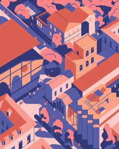 """Matteo Berton: """"This the version I liked the most of the cover I did for Shop Magazine, about the creative hub of Milan. See if you can spot some famous design buildings. Building Illustration, City Illustration, Landscape Illustration, Graphic Design Illustration, Digital Illustration, Shadow Illustration, Isometric Art, Isometric Design, City Art"""