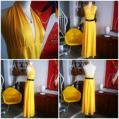 Beautiful yellow vintage dress from the 70s, pretty with its open-back. Accessorized with a vintage Yves Saint Laurent belt of dark blue leather and a golden belt buckle. The neckless is a Courreges from the 80s.