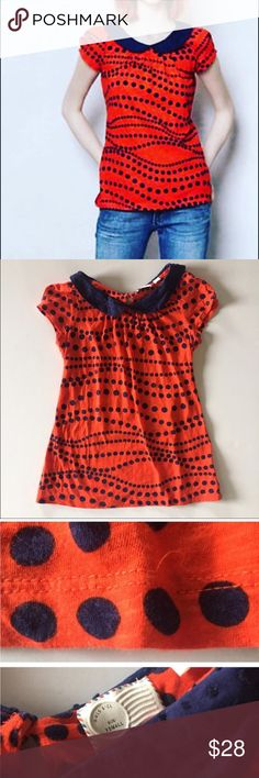 Anthropologie Dotted Novelty Tee Adorable tee from Postmark for Anthropologie! So bright and happy! Peter Pan collar is so cute. Reposh as sadly didn't fit. Excellent condition except small unnoticeable snag in thread at bottom of tee, shown in last photo. Anthropologie Tops Tees - Short Sleeve