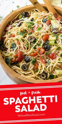 The Best Spaghetti Salad has tender noodles, crunchy vegetables, cheese, olives and zesty Italian dressing in a unique twist on the classic pasta salad. Best Spaghetti, Summer Spaghetti, Spaghetti Pasta Salads, Spaghetti Sides Dishes, Side Dish Recipes, Easy Dinner Recipes, Lunch Recipes, Crockpot Recipes, Tofu