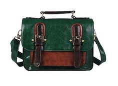 ﹩29.92. NEW! Vintage Messenger Purse School Satchel Green Leather Briefcase Bag Handbag.    Style - Shoulder Bag, Material - Soft Faux Leather, Color - Green, Bag Height - 8.5-inches, Bag Depth - 3.5-inches, Bag Length - 11-inches, Size - Small, Strap Drop - 23-inch, Closure - Magnetic Snap, Type - Handbags, UPC - 711830243863