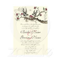 Fuchsia & Gray Vintage Birds Wedding Invite from Zazzle.com