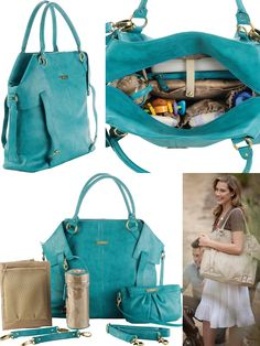 NWT Timi and Leslie - Charlie II - Teal - Faux Leather Designer Diaper Bag!! I want this:)