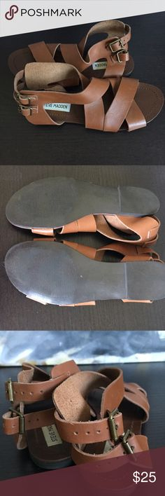 Steve Madden Leather Sandals Cute leather sandals from Steve Madden.  The size tag is gone but 7 1/2.  Shows very little wear.  Worn a couple times. Steve Madden Shoes Sandals