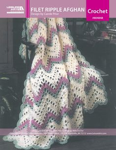 Filet Ripples Afghan ePattern...This is an incredibly pretty and lacy looking afghan. It's easy to make,and works up fast because you work with double strands and a large hook!..Best of all,the pattern is free!!