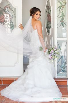 Pearl Bridal gown with full length veil, fitted wedding dress